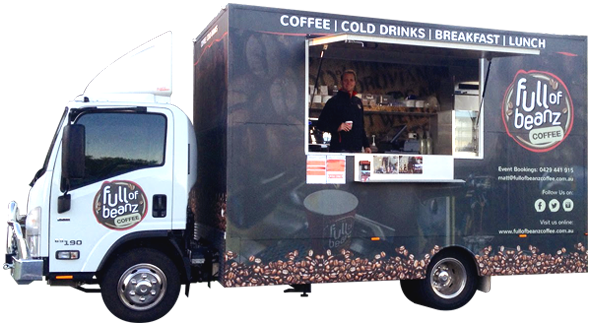 Truck locator full of beanz coffee for Food truck design app
